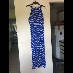Blue and white maxi dress 14/16